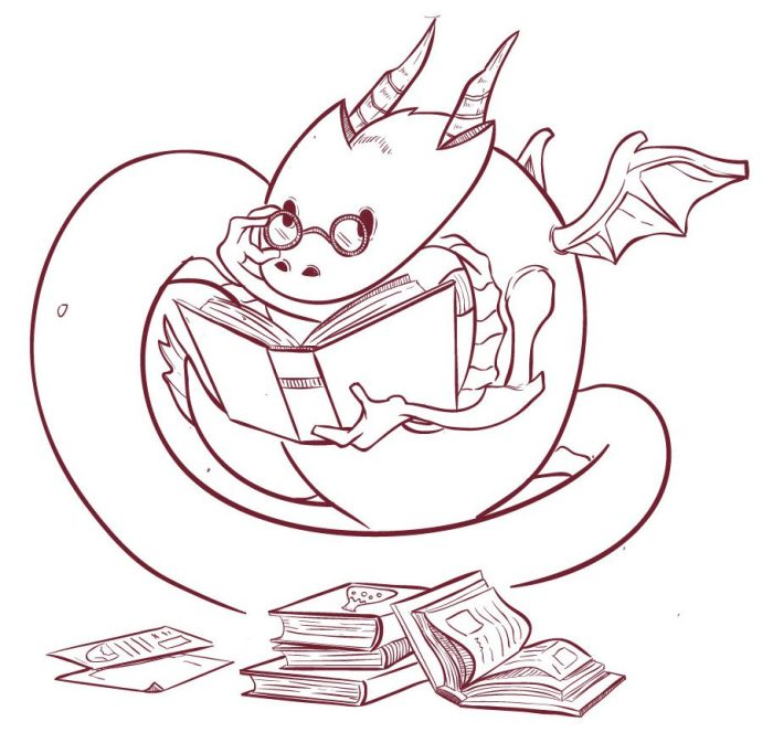 Library dragon drawing by Puput Wira Satya puputwirasatya@gmail.com